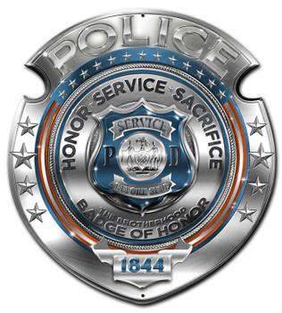 Police Badge of Honor Plasma Cut Metal Sign