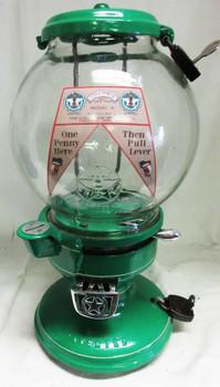 """Columbus Model """"A"""" Peanut Dispenser Penny Circa 1940's Green"""