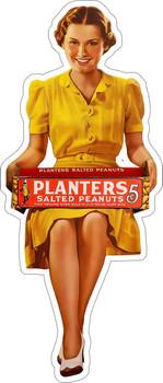 Planters Peanuts Girl Advertising Metal Sign