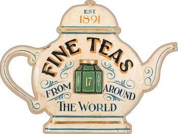 Fine Teas Tea Pot Advertising Metal Sign