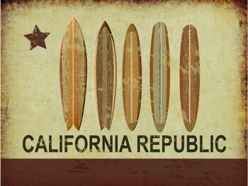 California Republic 2 Metal Sign