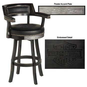 H-D® Bar & Shield Flames Barstool w/Backrest-Vinta