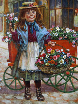 "Lee Dubin Framed Original Painting ""Flower Peddler"""