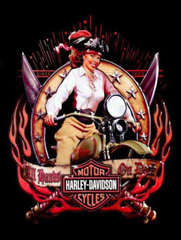 All Hands on Deck Pirate Babe Harley-Davidson Metal Sign