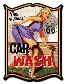 Car Wash Pin-Up Plasma Metal Sign