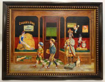 C. Hurst & Son's General Store 1930's byLee Dubin Framed Original Art