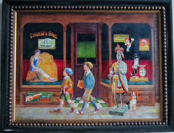C. Hurst & Son's General Store 1930's byLee Dubin Framed Original Art