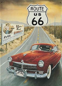 Route 66-Mother Road Diner Metal Sign