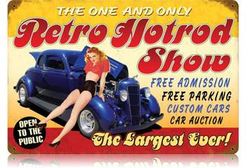 Retro Hotrod Show Metal Sign