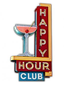 Happy Hour Club Plasma Cut Metal Sign