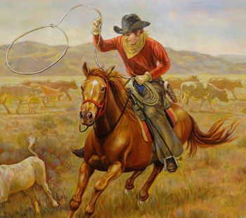 Western Round Up by Lee Dubin Original Framed Oil painting
