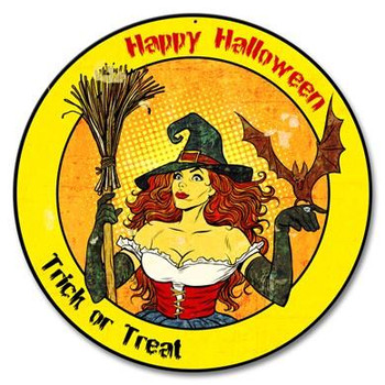 Happy Halloween Witch 14 Round Metal Sign