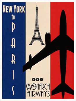 Monarch Airways-New York to Paris Metal Sign