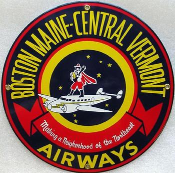 Boston Maine-Vermont Airways Porcelain Sign