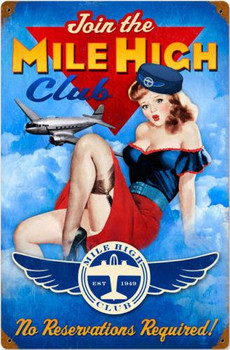 Mile High Club Pin-Up Metal Sign