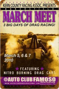 March Meet Drag Racing Vintage Metal Sign