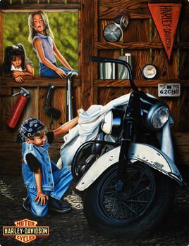 Curious Kids Harley-Davidson Metal Sign