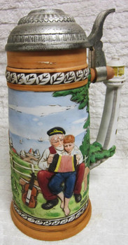"""1981 Norman Rockwell """"Looking Out To Sea"""" porcelain Collector's Stein"""