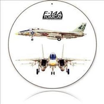 "F-14A Tomcat 14"" Round Metal Sign"