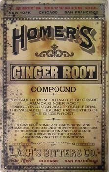 Homer's Ginger Root Metal Sign