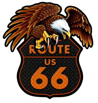 Route 66 Eagle Plasma Cut Metal Sign