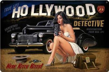 Hollywood Detective Pin-Up Metal Sign