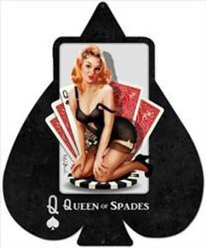 Queen of Spades Metal Sign