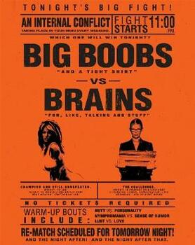 Big Boobs vs Brains Metal Sign