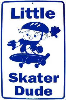 Little Skater Dude Metal Sign