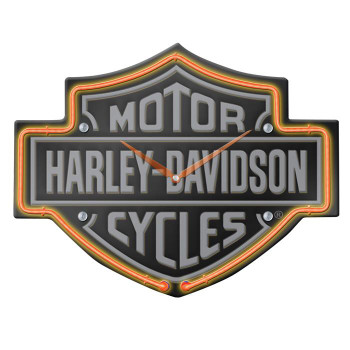 H-D® Etched B&S Shaped Neon Clock