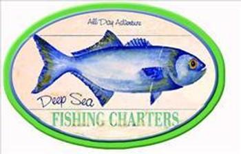 Deep Sea Fishing Charters Fish Round Pub Sign (Set of 6)
