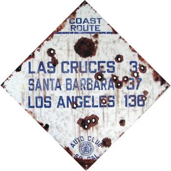 Coast Route Las Cruces through Los Angeles - Auto Club So. Cal. Metal Sign