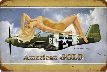 American Gold / P-51 Mustang Pin-Up Metal Sign