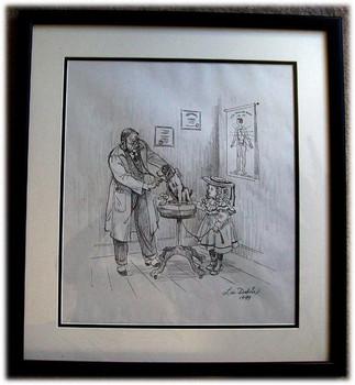 """Lee Dubin Framed Original Pencil Sketch """"Puppy's Visit Doctor's Office 2"""""""
