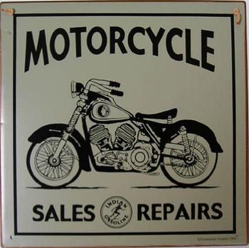 Motorcycle Sales Repairs Rustic Metal Sign