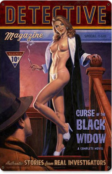 Detective-Curse of the Black Widow Pin-Up Metal Sign
