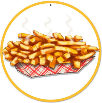 "French Fries 14"" Round Metal Sign"