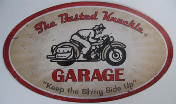 """Busted Knuckle Motorcycle 24"""" Oval Metal Sign (disc)"""