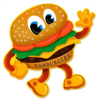 Hamburger Large Plasma Cut Metal Sign