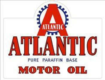 "Atlantic Motor Oil Metal Sign 32"" by 15"""