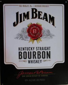 Jim Beam Kentucky Straight Bourbon Whiskey Label Metal Sign