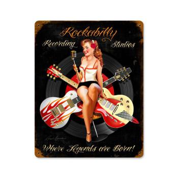 Rockability Recording Studio Pin-Up Metal Sign
