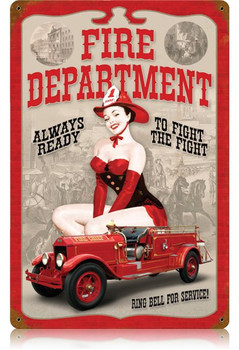 Fire Department Pin-Up Metal Sign