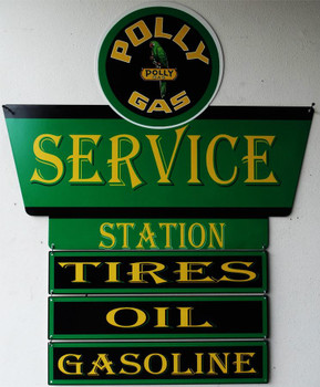 Polly Gas Service Plasma Cut Metal Sign with Plaques