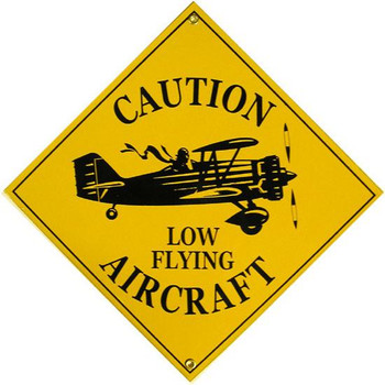Caution Low Flying Aircraft Porcelain Sign