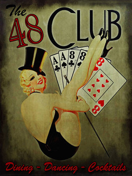 48 Club Pinup with Cards Metal Sign