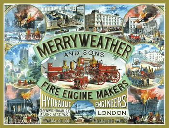 Merryweather Fire Engine Makers Metal Sign
