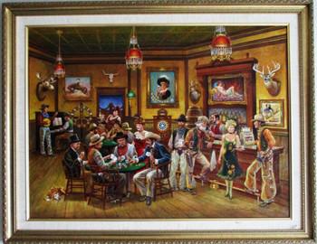 Lee Dubin Framed Original Painting Western Saloon