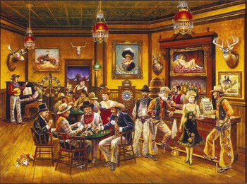 Lee Dubin Framed Original Painting Western Saloon
