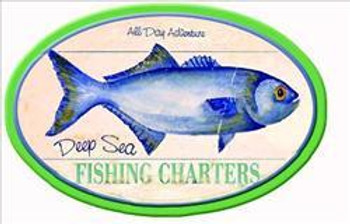 Deep Sea Fishing Charters Fish Round Pub Sign
